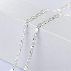 """22"""" Inch .925 Sterling Silver Flat Link Chain"""